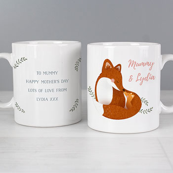 Personalised Mummy and Me Fox China Mug New Mum Gift