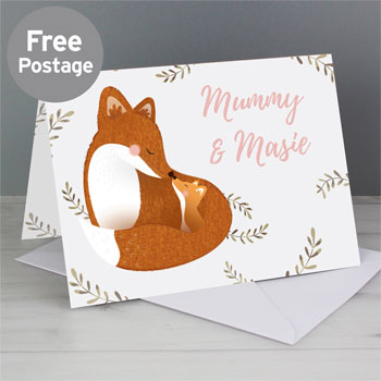 Personalised Mummy and Me Fox Mother's Day Card