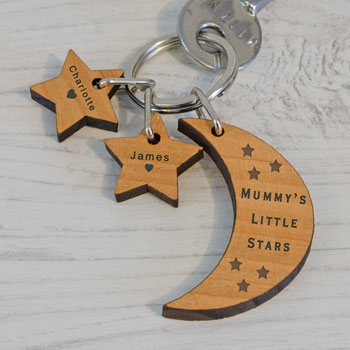 Personalised Little Stars Wooden Key Ring (Up To 3 Stars)