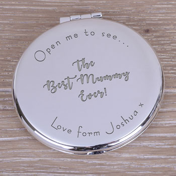 Personalised Silver Plated Best Ever Mummy Compact Mirror
