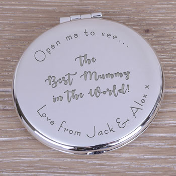 Personalised Silver Plated Best in the World Compact Mirror