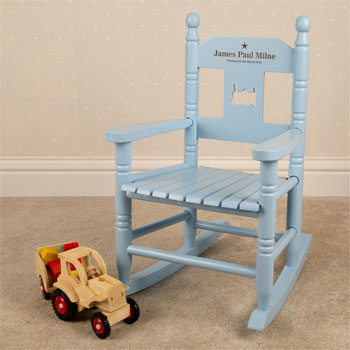 Boys Personalised Blue Wooden Toddler Rocking Chair