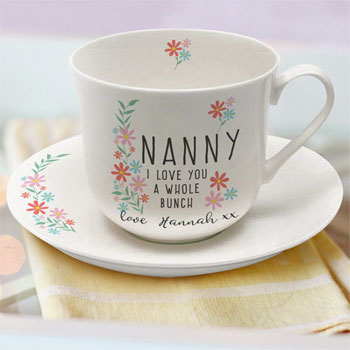 Personalised I Love You A Whole Bunch Cup & Saucer