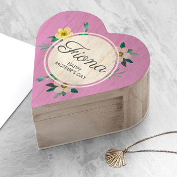 Personalised Wooden Mothers Day Heart Box