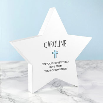 Personalised Wooden Christening Star Keepsake
