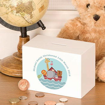 Noah's Ark Personalised Wooden Children's Money Box