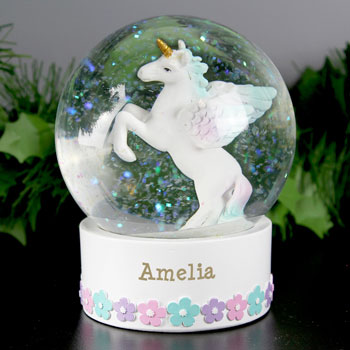 Girl's Personalised Unicorn Name Only Snow Globe