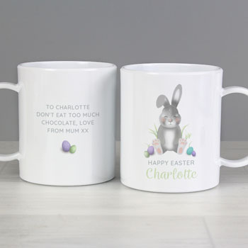 Personalised Cute Easter Bunny Children's Plastic Mug
