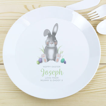 Toddler's Personalised Easter Bunny Plastic Drop-Proof Plate