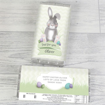 Children's Personalised Easter Bunny Milk Chocolate Bar 100g