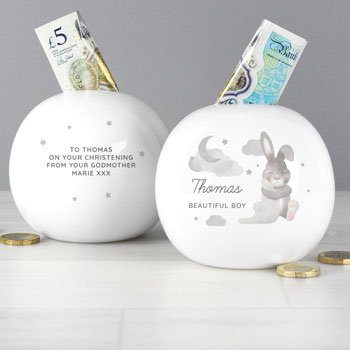 Personalised Baby Bunny Round China First Money Box