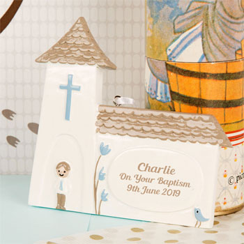 Boy's Personalised Baptism Church Ornament