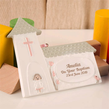 Girl's Personalised Baptism Church Ornament