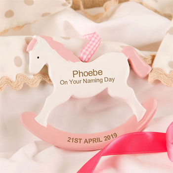 Girls Personalised Naming Day Gift Rocking Horse Ornament