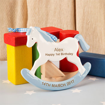 Boy's Personalised First Birthday Rocking Horse Ornament