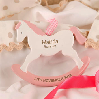 Girl's Personalised Rocking Horse Ornament New Baby Gift