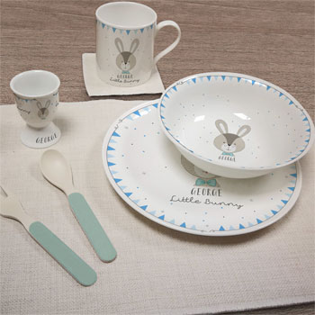 Personalised Little Bunny Blue China Breakfast Set