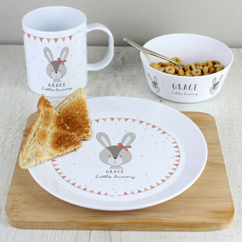 Personalised Little Bunny Pink China Breakfast Set