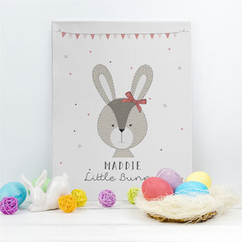 Personalised Little Bunny Pink Canvas