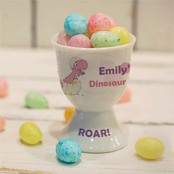 Personalised Pink Dinosaur China Egg Cup