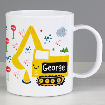 Boy's White & Yellow Personalised Digger Plastic Toddler Mug