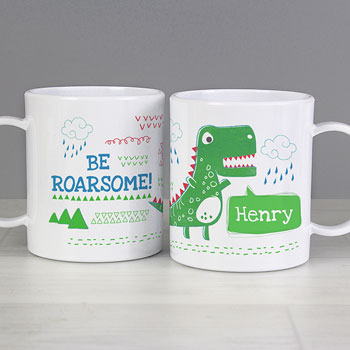 Boy's Personalised Be Roarsome Dinosaur Plastic Toddler Mug