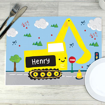Boy's Wipe-Clean Personalised Digger Placemat
