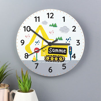 Boy's Personalised Digger Wooden Wall Clock