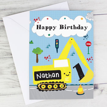 Boy's Personalised Digger Themed Birthday Card