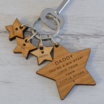 Engraved Big Star and Little Stars Wooden Key Ring