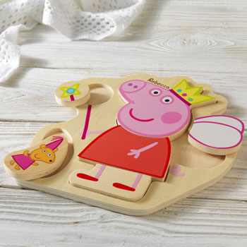 Child's Wooden Personalised Peppa Pig Puzzle Tray Toy