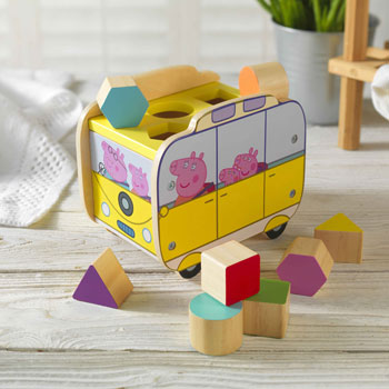 Personalised Peppa Pig Shape Sorter Campervan Toy