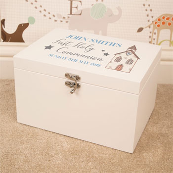 Boys White Wooden Personalised First Communion Keepsake Box