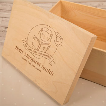 Girl's Laser Engraved 1st Communion Wooden Keepsake Box