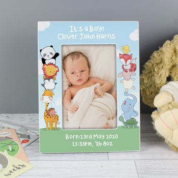 Personalised Baby Animals 6x4 Inch Wooden Baby Photo Frame