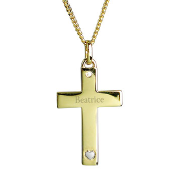 Girl's Personalised Gold Plated & Silver Cross Necklace