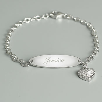 Girl's Personalised Silver and Cubic Zirconia Name Bracelet