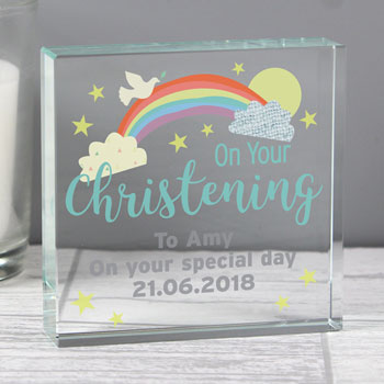 Personalised On Your Christening Large Crystal Keepake Token