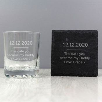 Men's Personalised Whisky Tumbler and Slate Coaster Set