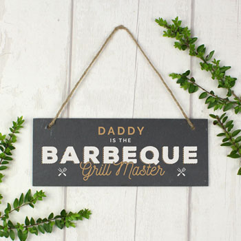 Men's Personalised Barbeque Grill Master Printed Slate Sign
