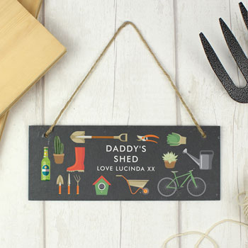 Men's Personalised Garden Printed Hanging Slate Plaque
