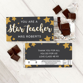 Personalised You Are A Star Teacher Milk Chocolate Bar 100g