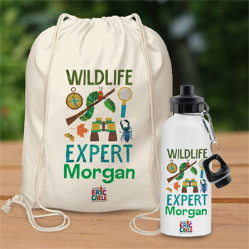 Hungry Caterpillar Wildlife Expert Personalised Bag & Bottle