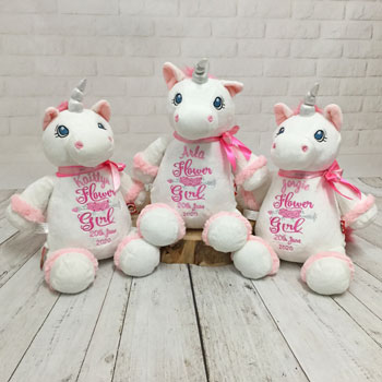 Personalised Flower Girl White Unicorn Teddy Bear