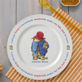 Personalised Paddington Bear Marmalade Sandwich Rimmed Plate