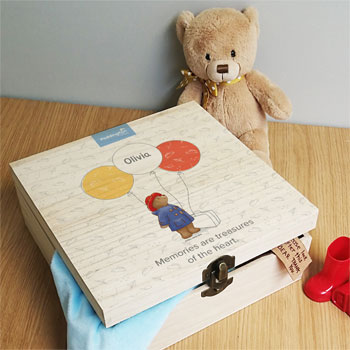 Personalised Paddington Bear Balloon Wooden Memory box