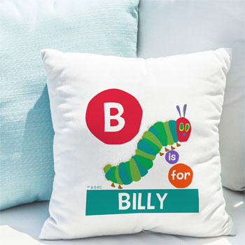 Personalised Very Hungry Caterpillar Initial Dot Cushion
