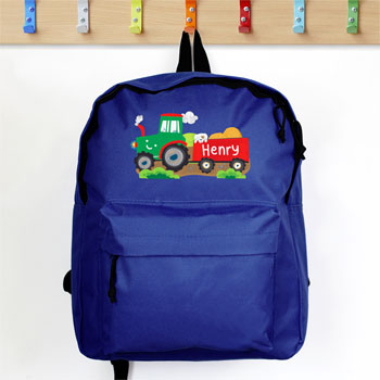 Personalised Boy's Blue Tractor Backpack School Bag