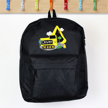 Personalised Boys Black Digger Backpack School Nursery Bag