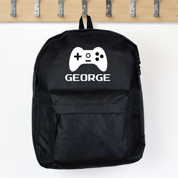 Personalised Gaming Black Backpack School Bag